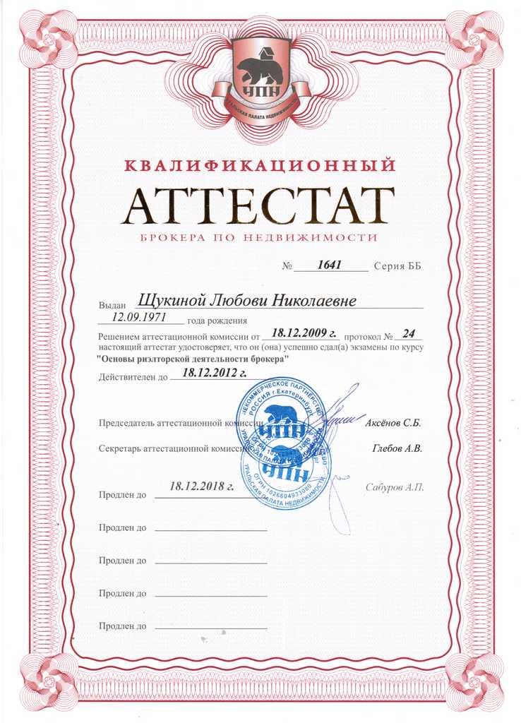 Щукина Любовь Николаевна брокер по недвижимости